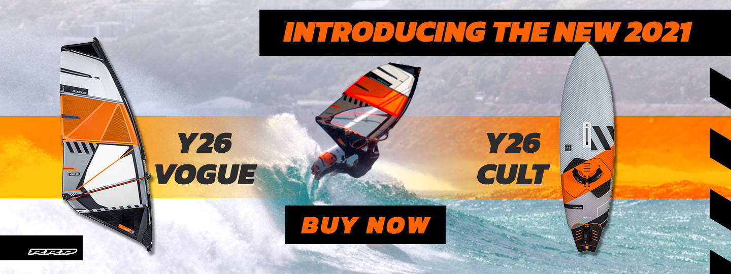 Buy the new RRD Y26 Vogue sails and Cult Boards from King of Watersports. A new concept in wave board design.